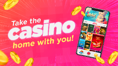 """pink background, mobile phone with app on screen, falling coins and text: """"Take the casino home with you!"""""""